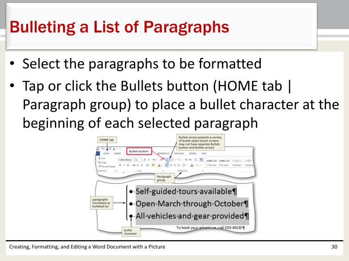 Bulleting a List of Paragraphs