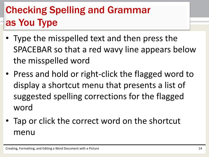 Checking Spelling and Grammar