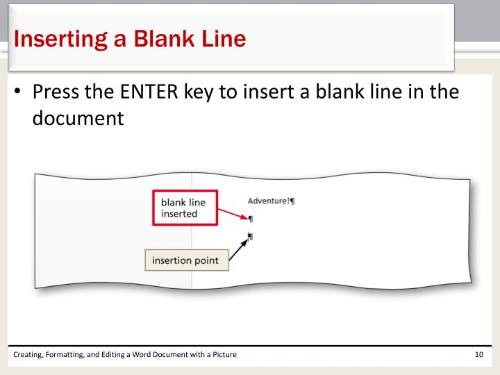 Inserting a Blank Line
