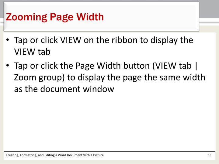 Zooming Page Width