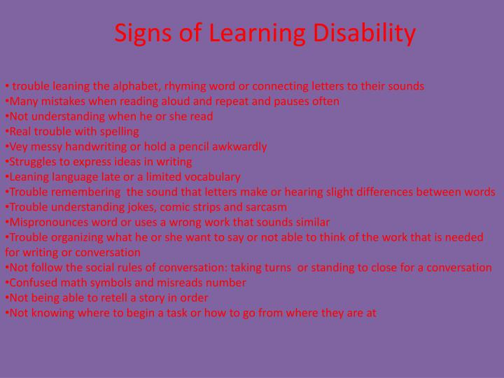 Signs of Learning Disability