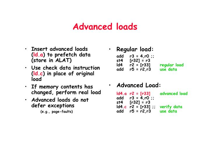 Insert advanced loads (