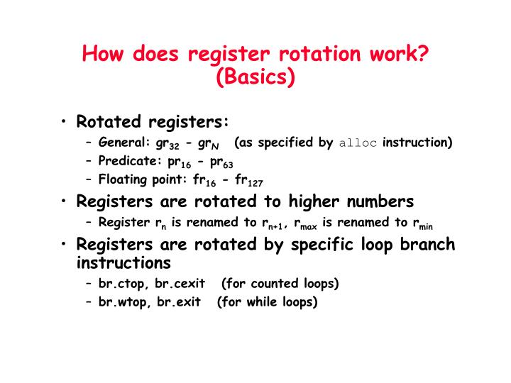 How does register rotation work?