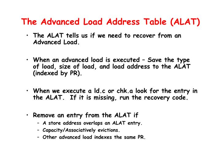 The Advanced Load Address Table (ALAT)