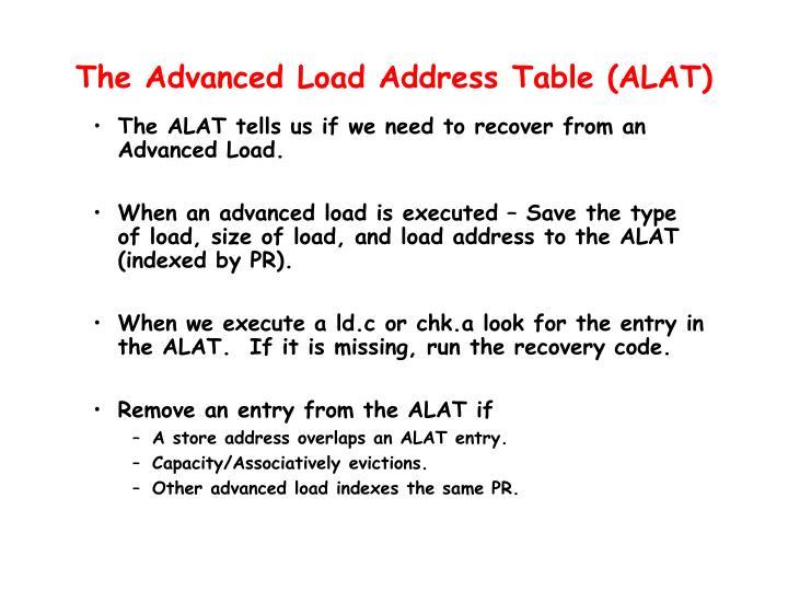 The Advanced Load Address Table (ALAT)