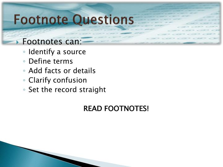 Footnote Questions