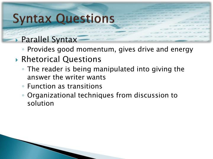 Syntax Questions