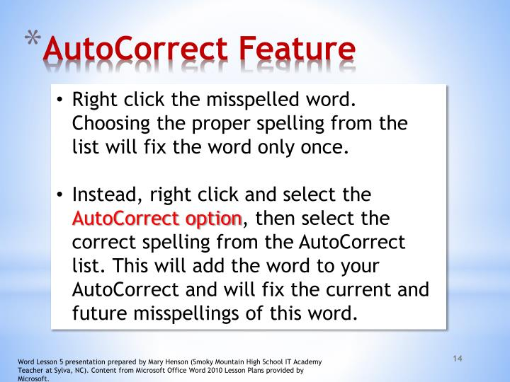 AutoCorrect Feature