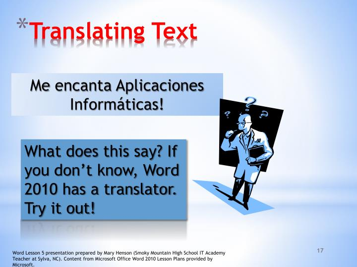 Translating Text