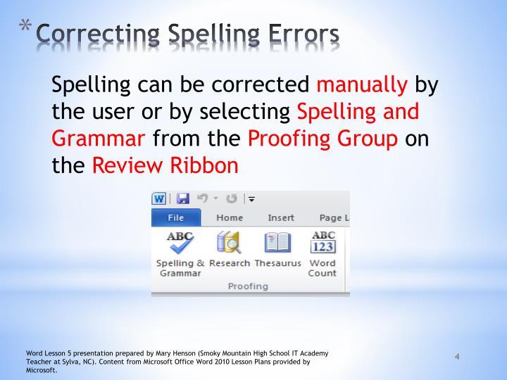 Correcting Spelling Errors