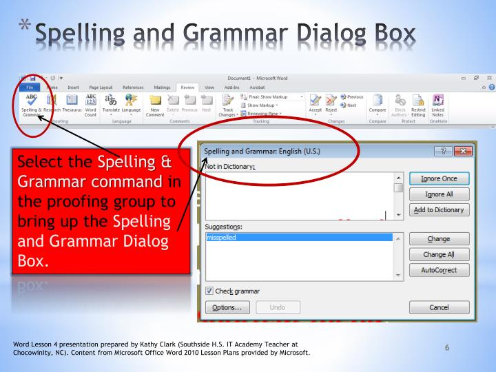 Spelling and Grammar Dialog Box