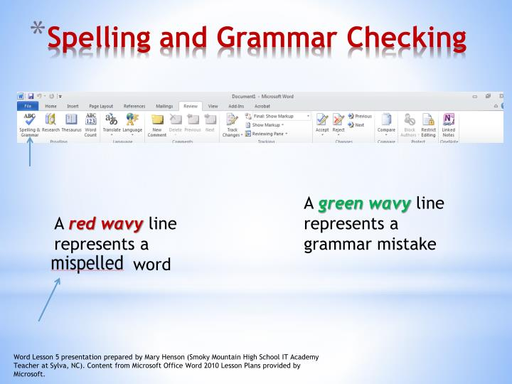 Spelling and grammar checking