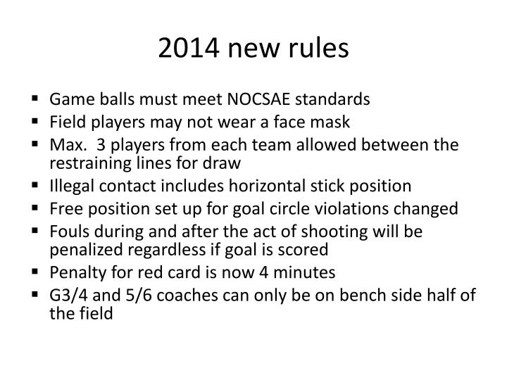 2014 new rules