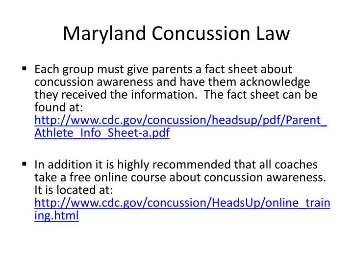 Maryland Concussion Law