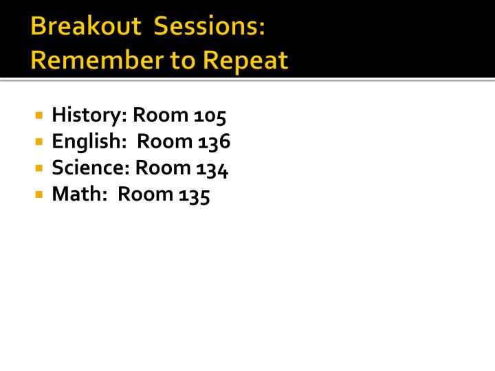 Breakout  Sessions: