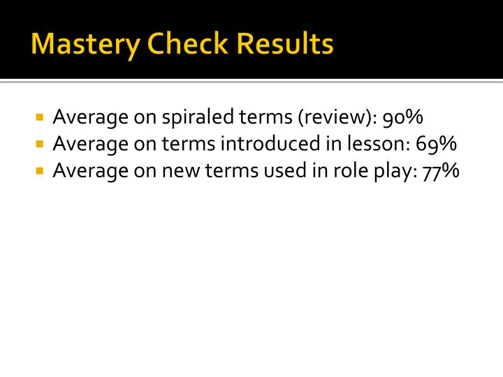 Mastery Check Results