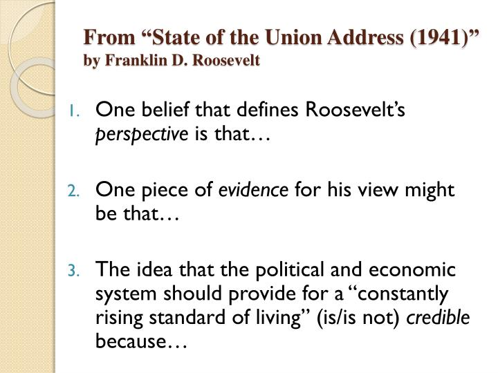 "From ""State of the Union Address (1941)"""