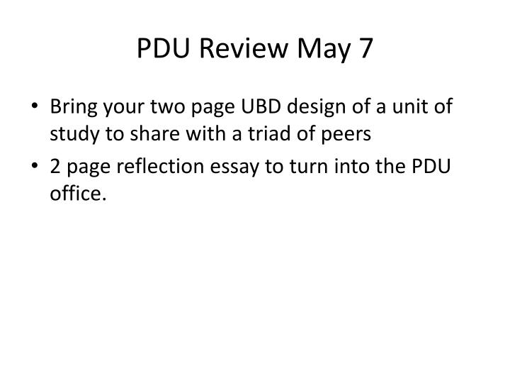 PDU Review May 7
