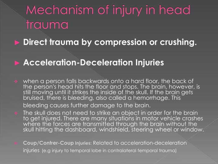 Mechanism of injury in head trauma