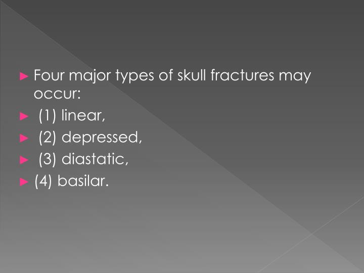 Four major types of skull fractures may occur: