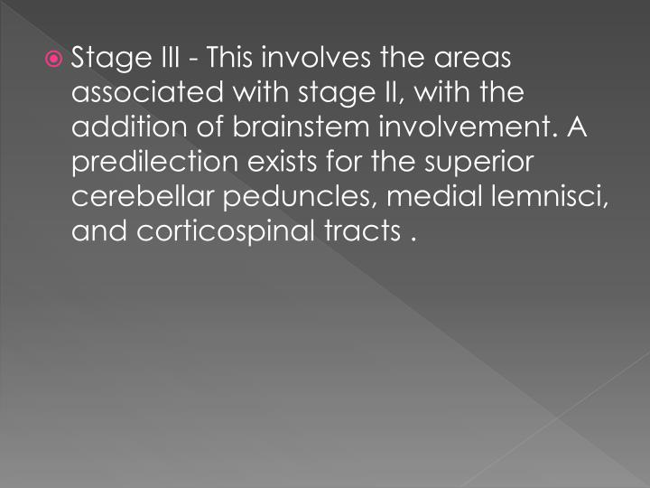 Stage III - This involves the areas associated with stage II, with the addition of brainstem involvement. A predilection exists for the superior