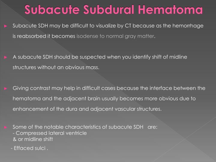 Subacute Subdural Hematoma
