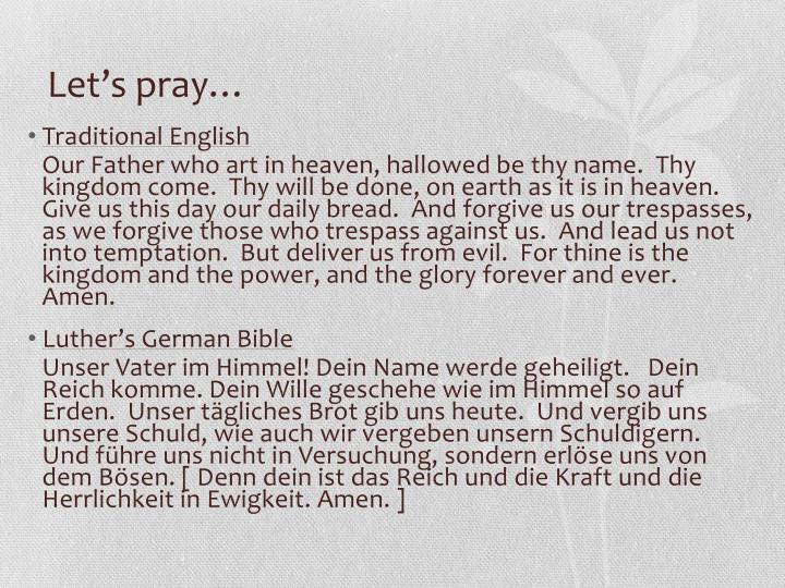 Let's pray…