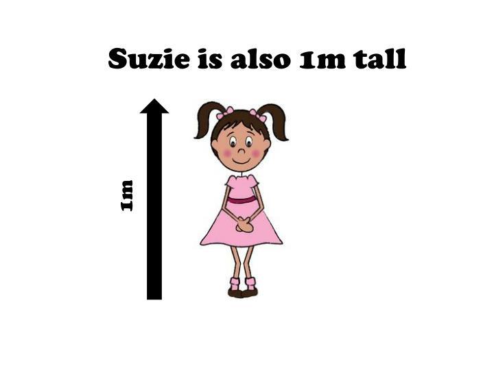 Suzie is also 1m tall