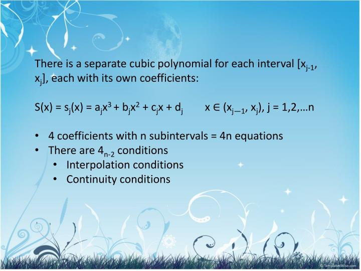 There is a separate cubic polynomial for each