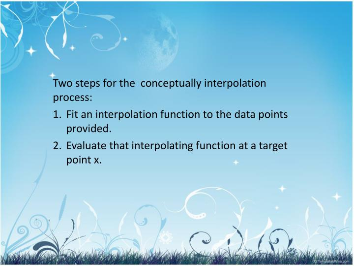 Two steps for the  conceptually interpolation process: