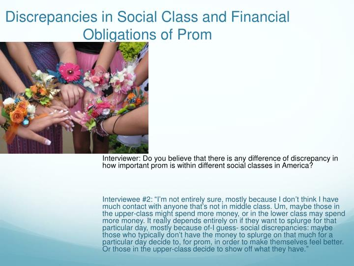 Discrepancies in Social Class and Financial Obligations of Prom