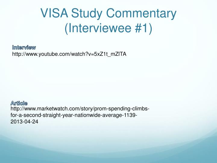 VISA Study Commentary