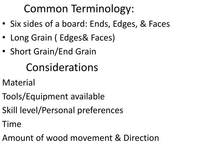 Common Terminology: