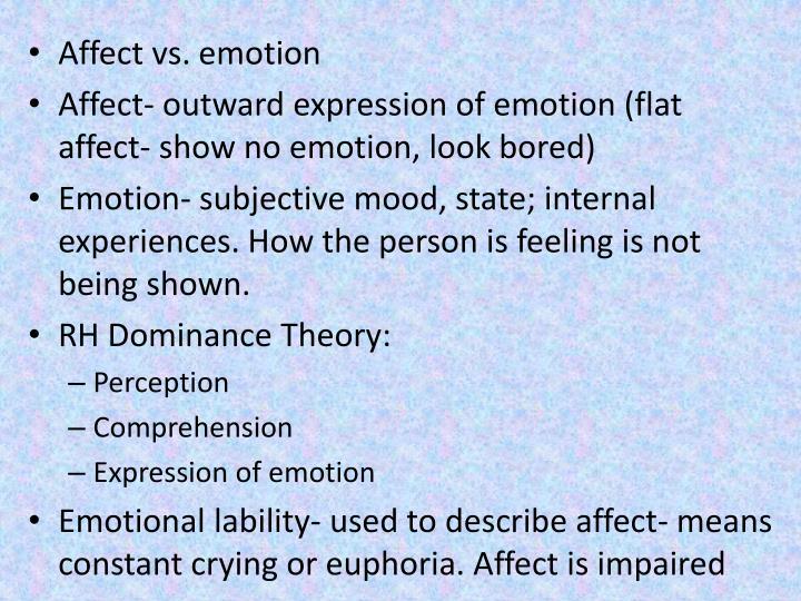 Affect vs. emotion