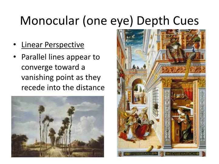 Monocular (one eye) Depth Cues