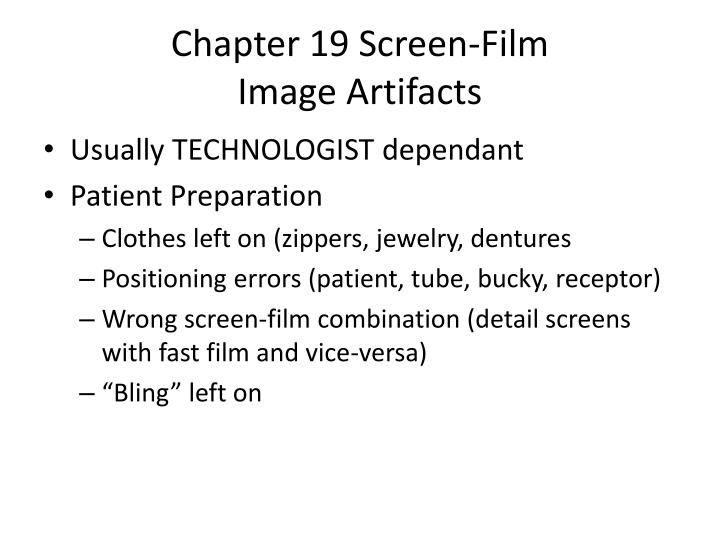 Chapter 19 screen film image artifacts