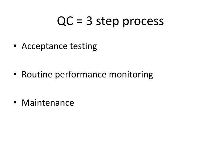 QC = 3 step process