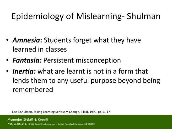 Epidemiology of Mislearning- Shulman