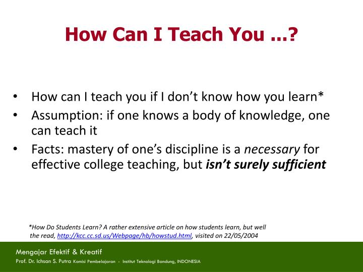 How Can I Teach You ...