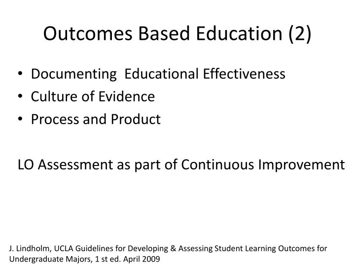 Outcomes Based Education (2)