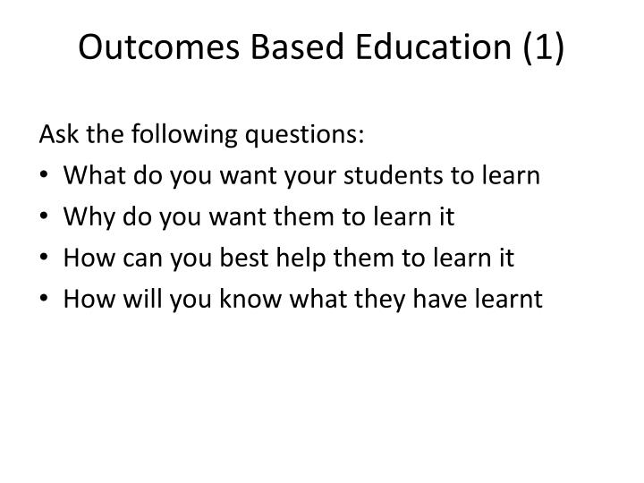 Outcomes Based Education (
