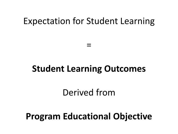 Expectation for Student Learning