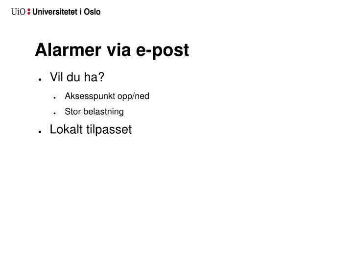 Alarmer via e-post