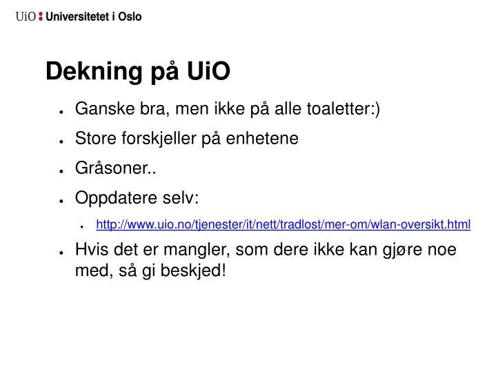 Dekning på UiO