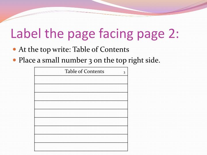 Label the page facing page 2: