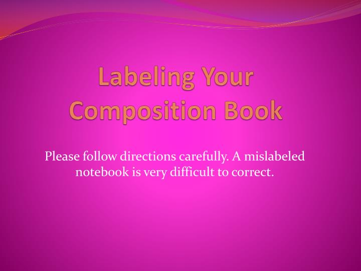 Labeling your composition book