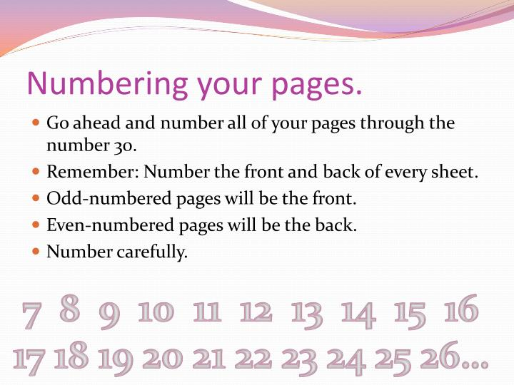 Numbering your pages.
