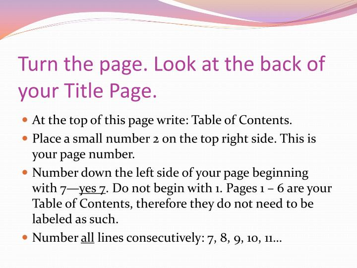 Turn the page. Look at the back of your Title Page.