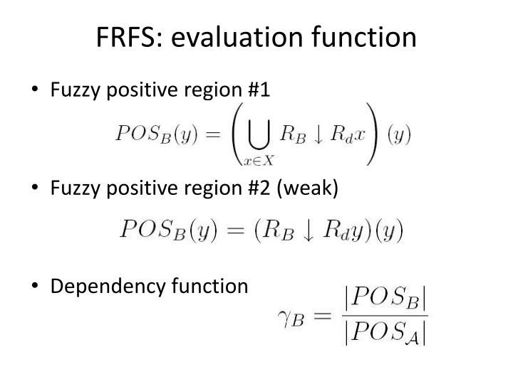 FRFS: evaluation function