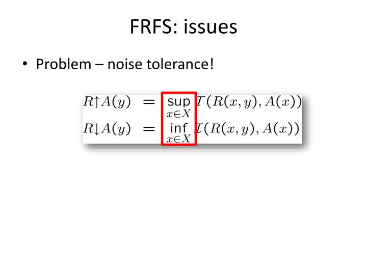 FRFS: issues